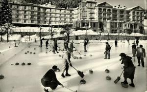 switzerland, DAVOS, Curling Rink with Grand Hotel and Belverdere (1959) RPPC