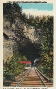 VIRGINIA, 1910-20s; Natural Tunnel, Train coming down Tracks out of tunnel