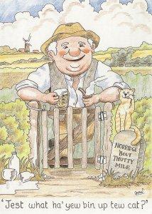 Norwich Farmer Drinking Beer Norfolk Accent Comic Postcard