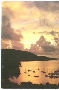 Sunrise over Road Harbour, Tortola, British Virgin Islands, unused Postcard