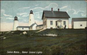 Salem MA Bakers Island Lighthouses c1910 Postcard Version #3