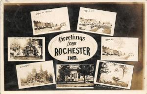 Rochester IN Main Sts~Carnegie Library~Lake Manitou~Woodlawn Hospital~RPPC c19