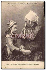 Old Postcard Folklore Breton headdresses Woman and girl Plougastel Daoulas