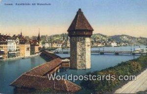 Kapellbrucke mit Wasserturm Luzern Swizerland Unused