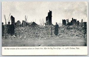 Chelsea Massachusetts~Men & Woman Stand in Chester Avenue Ruins After Fire~1908