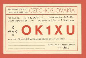 QSL AMATEUR RADIO CARD – PRAGUE, CZECHOSLOVAKIA– 1949 – IRON CURTAIN