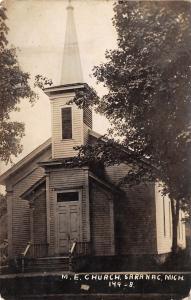 Saranac Michigan~Closeup of the United Methodist Episcopal Church~RPPC 1909