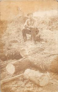 D85/ Occupational RPPC Real Photo Postcard c1910 Cutting up Firewood 32
