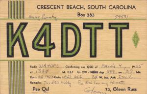 QSL Radio Postcard , Crescent Beach , South Carolina , PU-1965