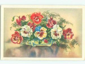 Very Old Foreign Postcard BEAUTIFUL FLOWERS SCENE AA4255