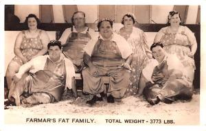 Circus Acts Post Cards Farmar's Fat Family Total Weight 3773 LBS Unused