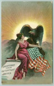 Patriotic Lovely Lady Columbia~Picturesque America Greetings~Eagle~IPCC 6-13