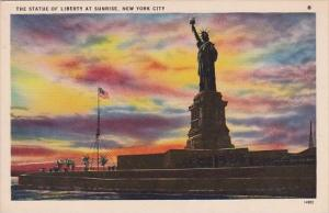 New York City Statue Of Liberty At Sunset