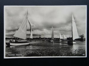 Norfolk THURNE MOUTH showing Sail Boats & Wind Mill c1950's RP Postcard