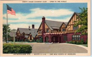 WHEELING, IL Illinois   CHEVY CHASE COUNTRY CLUB c1940s Linen GOLF   Postcard