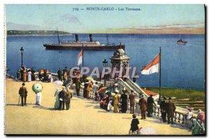 Old Postcard Monte Carlo Les Terrasses Boat Ship