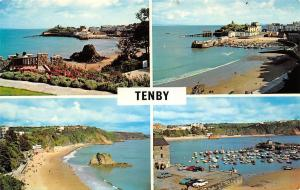 Tenby, North Bay and Goscar Rock The Beach and Harbour Boats Vintage Cars