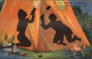 Curt Teich Shadow Comic Spraying For Insects Camping Linen Postcard