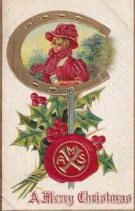 A Merry CHRISTMAS, Portrait Of Woman Framed By A Horseshoe, Holly, PU-1909