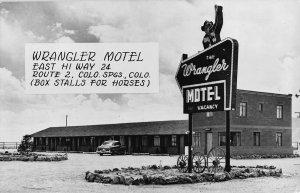 Real Photo Postcard The Wrangler Motel in Colorado Springs, Colorado~108291