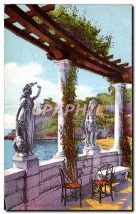 Old Postcard La Cote D Azur A corner terrace