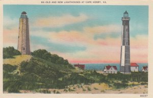 Old & New LIGHTHOUSES , Cape Henry , Virginia , 30-40s