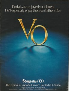 Seagram's VO 1979 Print Ad, Enjoy on Father's Day, VO Letters on Blue