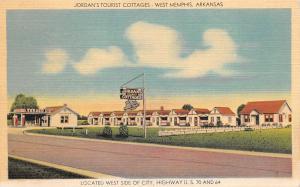 West Memphis Arkansas 1940s Postcard Jordan's Tourist Cottages Motel