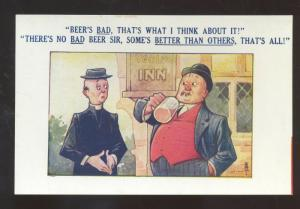 BEER IS BAD DRINKING MAN ADVICE VINTAGE COMIC POSTCARD BAMFORTH CO.