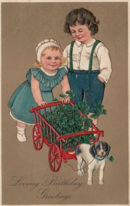 BIRTHDAY, 1900-10s; Children, Wagon full of Clovers pulled by Beagle, PF 7089