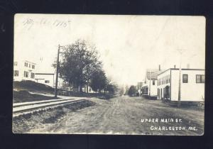 RPPC CHARLESTON MAINE DOWNTOWN UPPER MAIN STREET SCENE REAL PHOTO POSTCARD