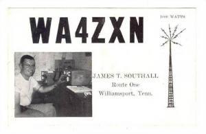 Qsl Radio postcard , Williamsport , Tennessee , 50s