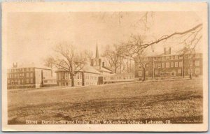 1912 Lebanon, Illinois RPPC Photo Postcard McKENDREE COLLEGE Dorms Dining Hall
