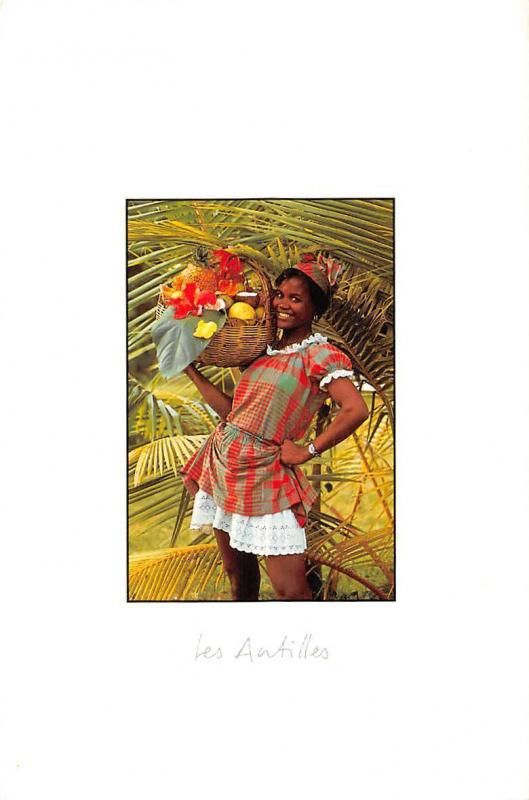 Guadeloupe Les Antilles Woman holding Basket with Fruits