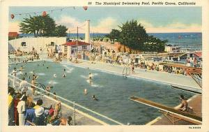 CA, Pacific Grove, California, Municipal Swimming Pool, Curteich No. 7A-H2033