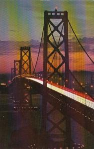 California San Francisco Oakland Bay Bridge At Night