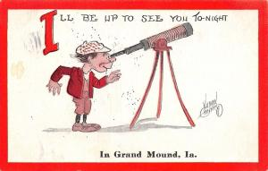 I'll Be Up to See You Tonight in Grand Mound Iowa~Telescope Man~1912 Artist PC