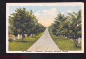 DAVENPORT FLORIDA HOLLY HILL GROVES HIBISCUS ANTIQUE VINTAGE POSTCARD FLA.