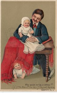 Who would not be a father!, Twin toddlers, Bonnet, Baby Bottle, 1909, PFB 7662