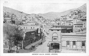 Black White Bisbee Arizona Brewery Gulch 1920s Postcard 4579