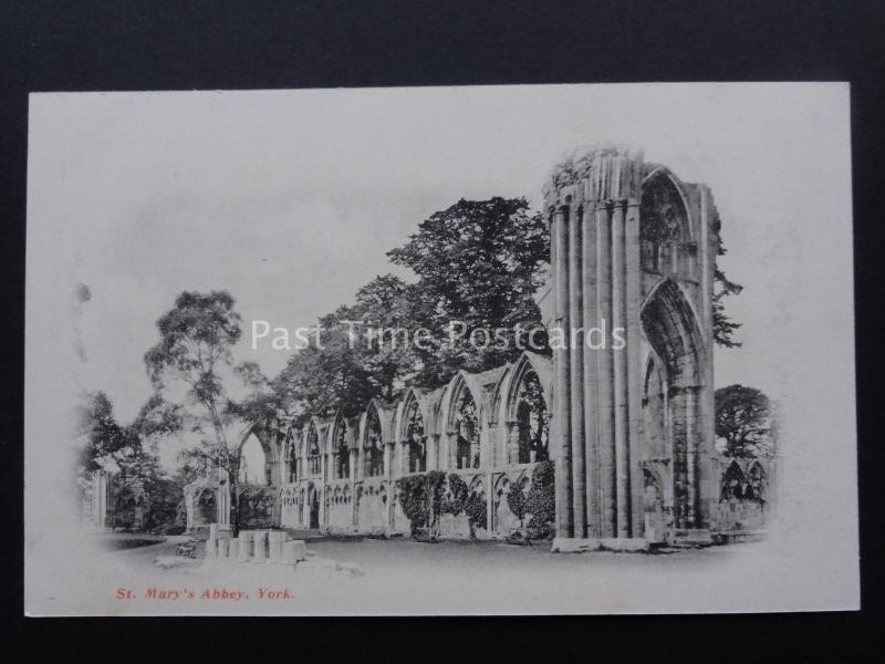 Yorkshire ST MARYS ABBEY c1904 protective tissue attached