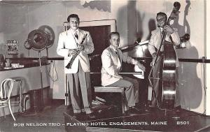 Bob Nelson Trio Playing Hotel Engagements in Maine Music Instruments Postcard