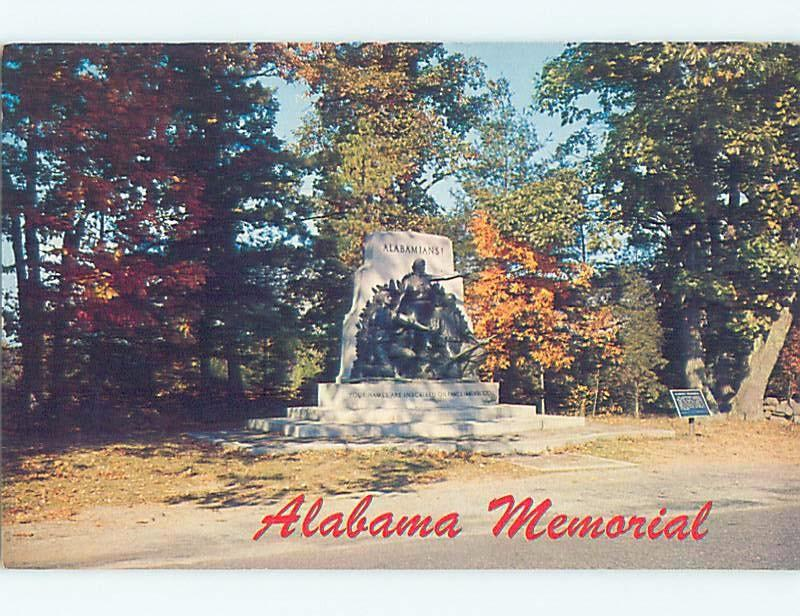 Unused Pre-1980 ALABAMA CIVIL WAR MONUMENT Gettysburg Pennsylvania PA F1543