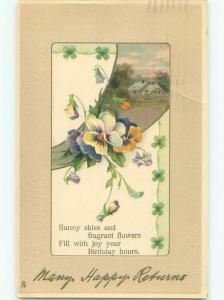Pre-Linen COUNTRY HOUSE WITH PANSY FLOWERS J2949