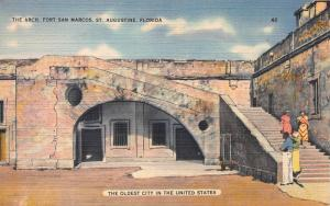 The Arch, Fort San Marcos, St. Augustine, Fl., Early linen Postcard, Unused