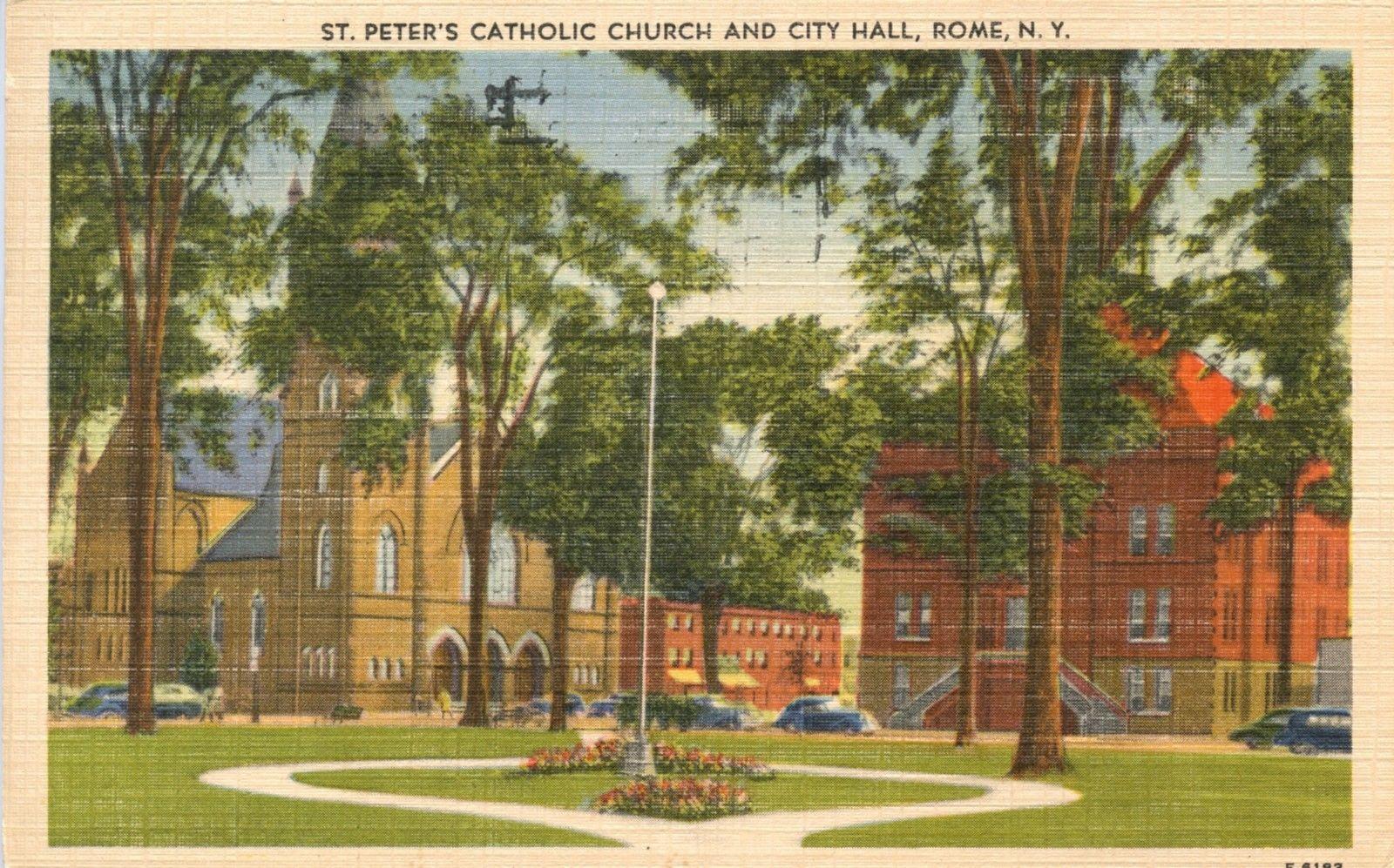 ROME NY, Oneida County, St Peters Church, City Hall 1952 Postcard ...