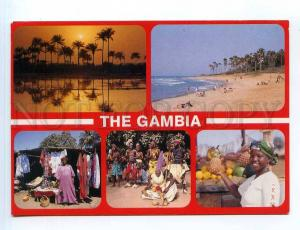 250879 WEST AFRICA GAMBIA multi-views collage RPPC to SWEDEN
