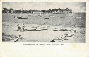 Swampscott MA~Lincoln House Hotel From Fisherman's Beach~Baby Carriage~c1905 B&W