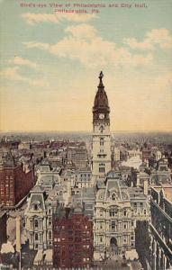 Pennsylvania Philadelphia Birds Eye View Of Philadelphia And City Hall 1913