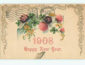 Divided-Back NEW YEAR SCENE Great Postcard AA2006